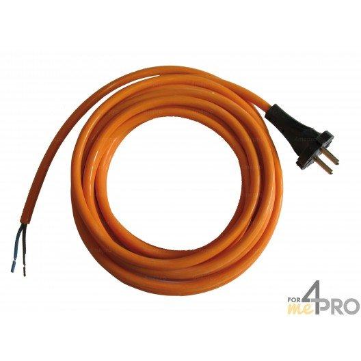 Câble électrique en caoutchouc neoprène 5 m fiche droite norme HO7RNF en 3G1,5